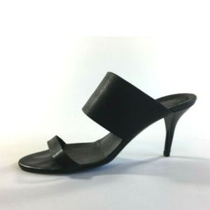 DKNY Black Leather Heel Sandals size 8.5